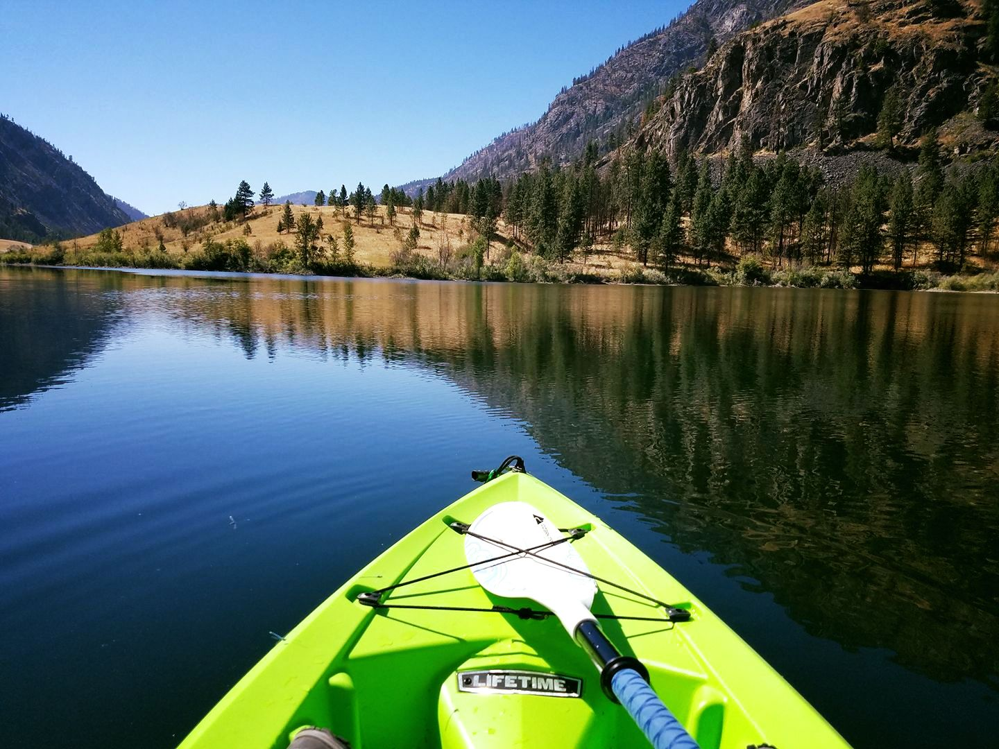 Kayaking on Blue Lake by Jennifer Croasdale Dunham