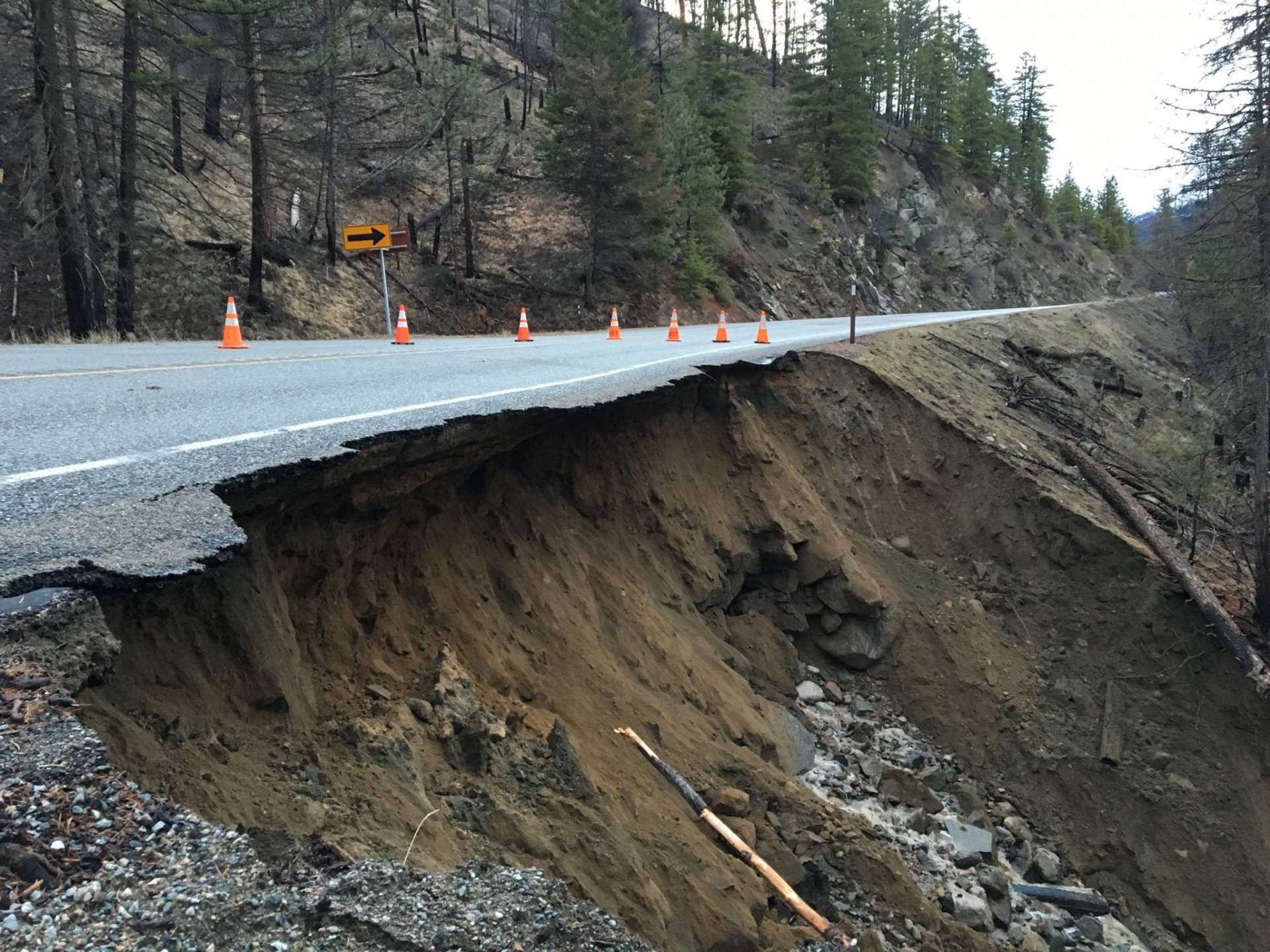 Hwy 20 Road Washout 1