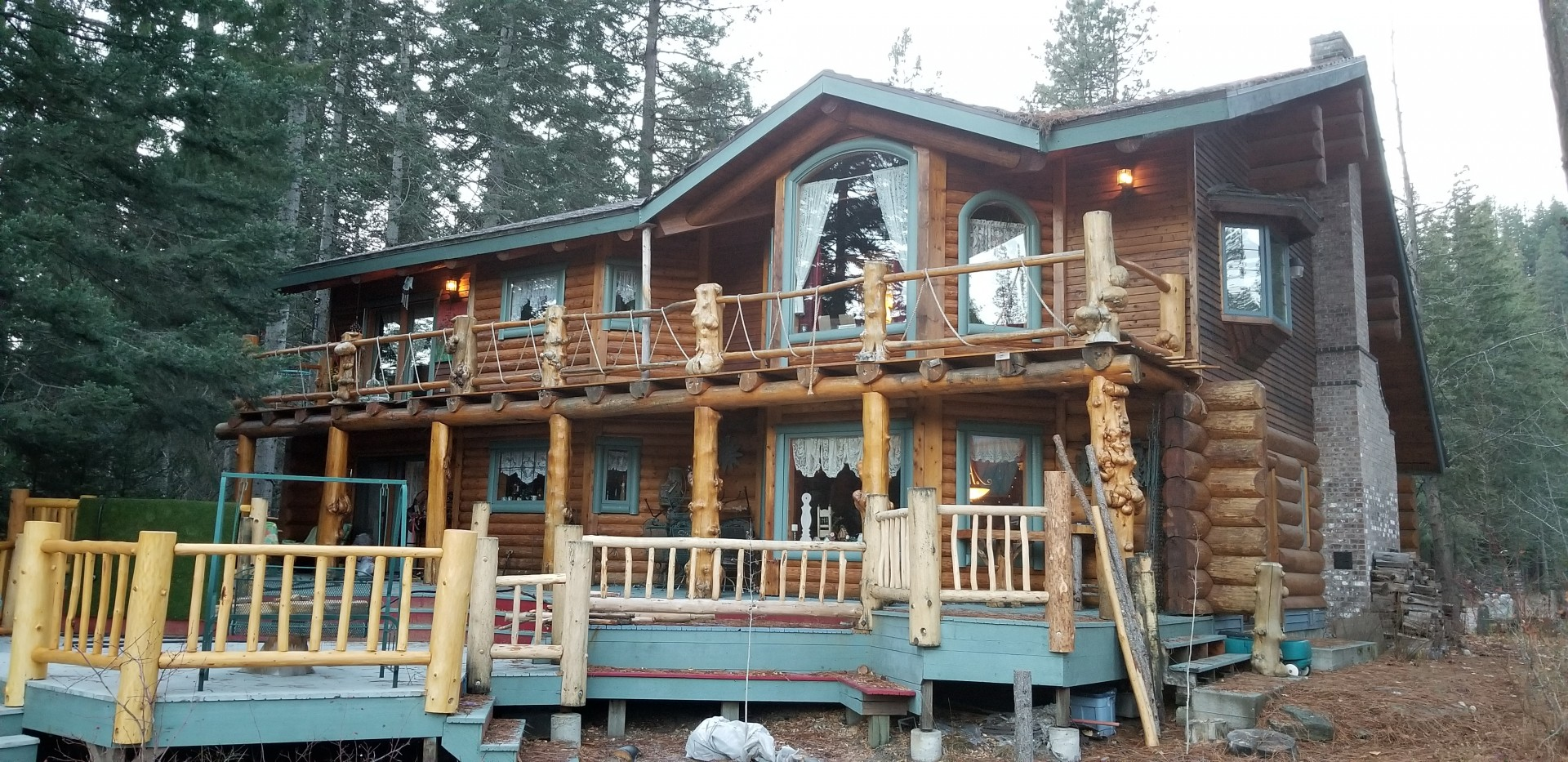 Massive Log Home on River 1