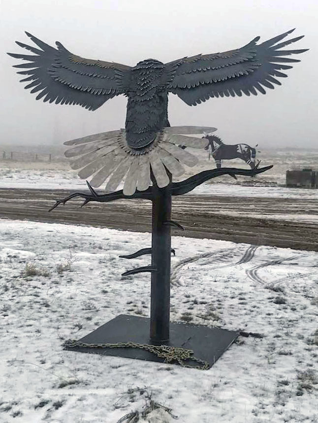 Eagle and WhiteTail Deer Sculptures