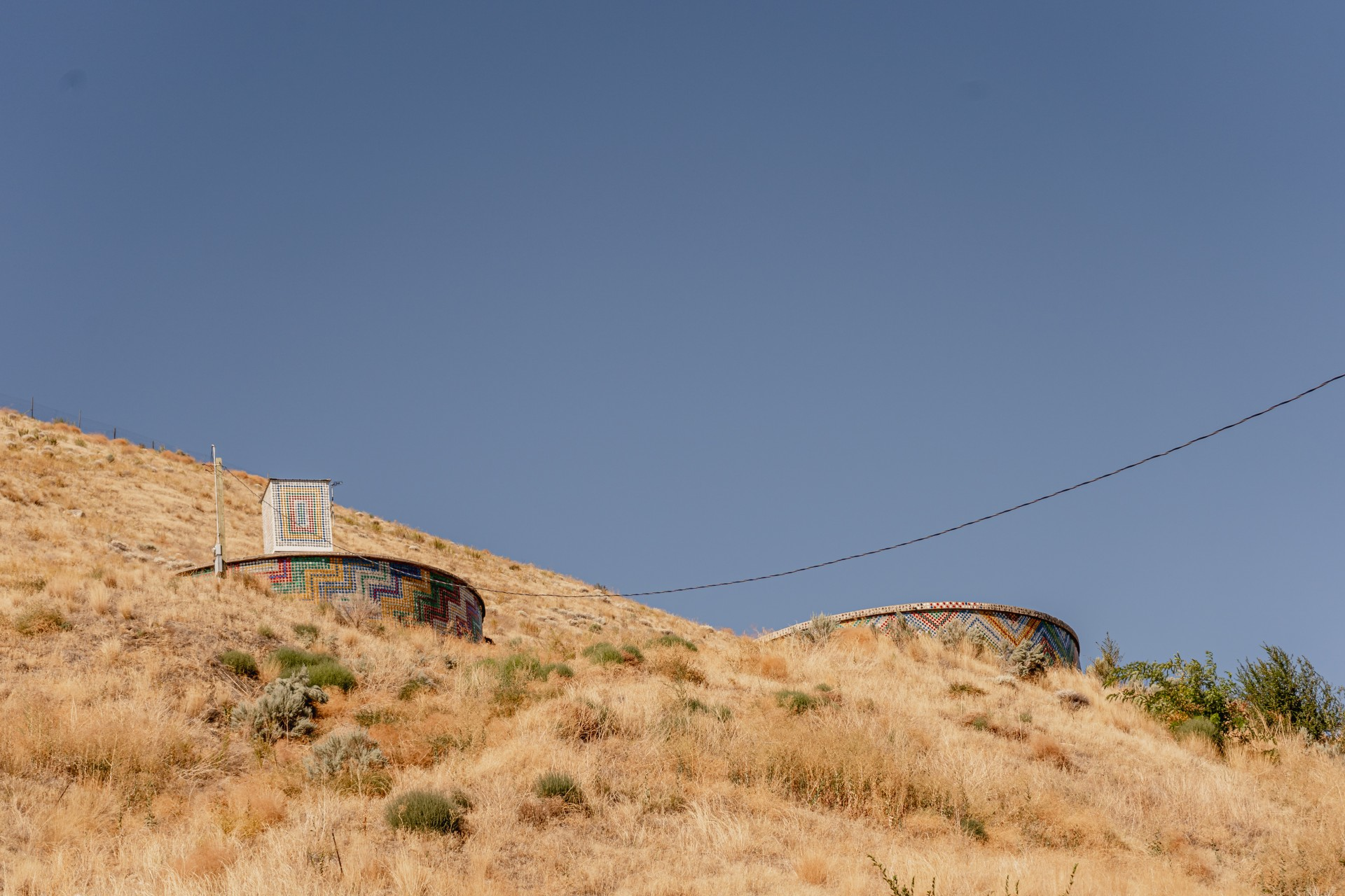 Reflections on the Columbia, Pateros Water Towers